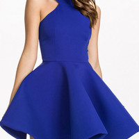 Plain Zipper-Back A-Line Dress