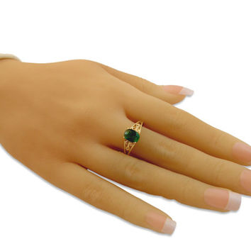 Emerald Ring, 14K Gold Fill Vintage Style Ring, Affordable Engagement Ring, Gift for Her, swarovski crystal celebrity inspired