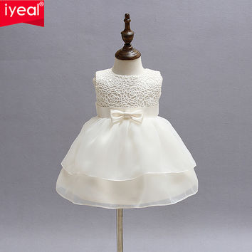 Newborn Baby Girls Princess Birthday Party White Formal Christening Gown Dress with Bow Dresses for 0-24 Months