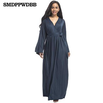 SMDPPWDBB Autumn Maternity Dresses Women Sexy Pregnancy Dress Long V-Neck Women Dresses Noble Prom Party Gowns Evening Vestidos