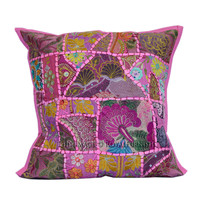 Pink Vintage Old Sari Patchwork Decorative Throw Pillow Cover on RoyalFurnish.com