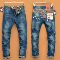 Men Slim Strong Character Print Mosaic Jeans [6528348163]