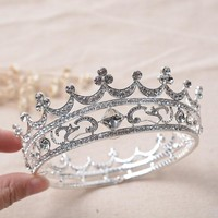 Cool Hot European Designs Royal King Queen Crown Rhinestone Tiara Head Jewelry Quinceanera Crown Wedding Bride Tiaras Crowns PageantAT_93_12