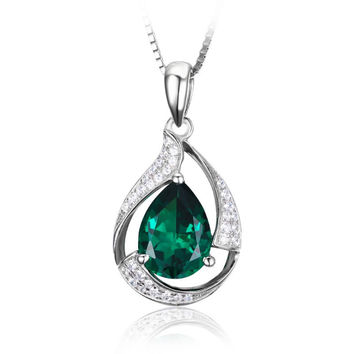 Silver Lab Created Emerald Gem Necklace