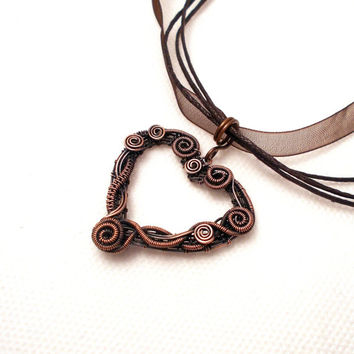 Rustic heart pendant, copper heart pendant, copper wire wrapped heart pendant, love pendant
