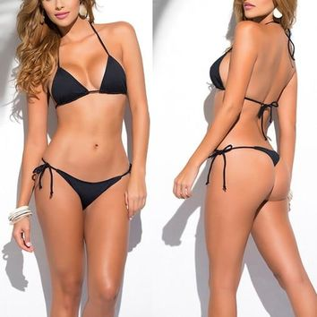 Solid Black Classic Thong Bikini Women's Swimwear Summer Beach String Bikinis Sexy Female Bathing Suits Solid Swimsuits 1667