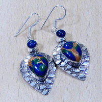 "Copper In Azurite & 925 Sterling Silver Overlay Earrings 58mm ""The Transforming Stone"".Gifts under 10,20,30. UK seller,Silver Earrings,"