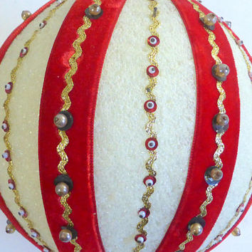 Large Vintage Styrofoam Christmas Ornament Christmas Ball Retro Kitschy Beaded Ornament Red White Gold Holiday Decoration 6 Inch Diameter