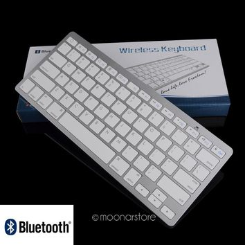 Silver Ultra Slim Wireless Bluetooth Keyboard for Apple OS iPad 2 3 4 Mac Powerbook iBook Macbook