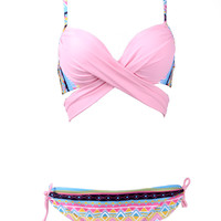Pink Aztec Covertible Push Up Bikini