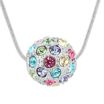 Swarovski Crystal Pendant Ball Necklace Made with Swarovski Elements