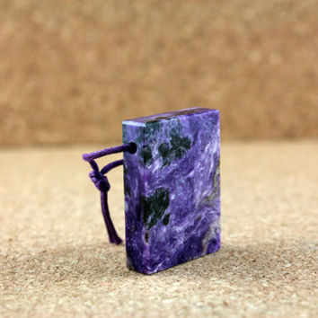 Charoite Pendant - Smooth Purple and Black Rectangle Top Drilled Bead