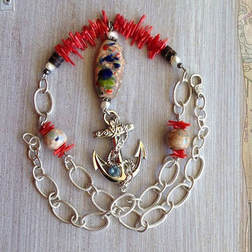 Big Anchor Necklace with Red Coral and Multi Colored Ceramic Beads, Large Silver Chain, Hand-picked gemstones, Nautical Style