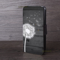 Merry Christmas, Phone case, wood, Dandelion, iPhone 5S case, iPhone 5c case, Samsung Galaxy Note3, Galaxy S5, Leather Phone Case --002
