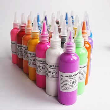 12 Colors Professional Acrylic Paints Hand Painted Wall Painting Textile Paint Graffiti Brightly Colored Art Drawing Supplies