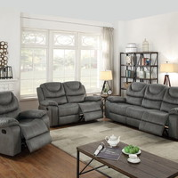 Poundex F6765-66 2 pc Carlsbad II collection slate grey breathable leatherette upholstered sofa and love seat set with reclining ends
