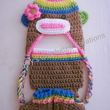 crochet rainbow sock monkey set / handmade / crocheted / rainbow / photo prop