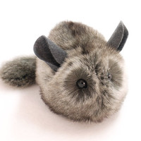 Reserved for Tara Stuffed Toy Chinchilla Faux Fur Plushie Medium Size