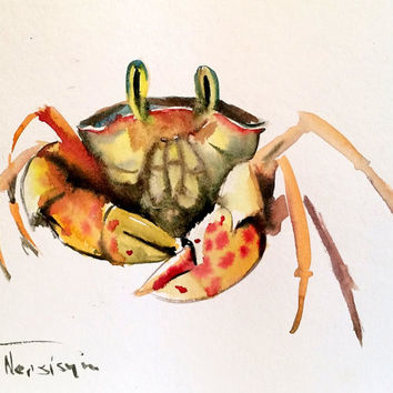 Crab, Oriignal watercolor painting, 10 X 8 in, crab lover art, crab wall art, sea world animals, sea food, cute crab