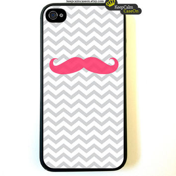 iPhone 4 Case Pink Mustache iPhone 4S Case by KeepCalmCaseOn