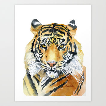 Tiger Watercolor Painting Art Print by Susan Windsor