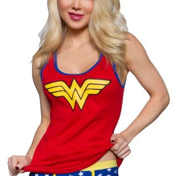 Wonder Woman Symbol Ladies Junior Rib Tank Brief Set