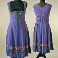 60's German Lavender Dirndl Dress with Green Trim, Floral Embroidery Size 42