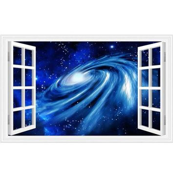 ICIKION 3D wall stickers home decor Star Space Home Decor Art Fake Window Removable Stickers