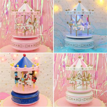 Unicorn Party 1pc Pink Unicorn Music Carousel Cake Decoration Birthday Party Decorations Kids Unicorno Baby Shower Unicorn-S