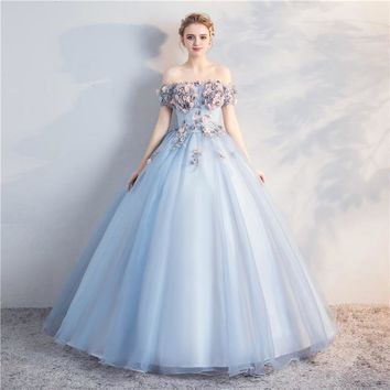 Sweet Lace Flower Boat Neck A-line Floor-length Party Gown Custom Formal Wedding Dress Custom Cosplay