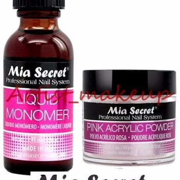 Mia Secret Acrylic Nail Powder Pink + Liquid Monomer 1 oz Set - USA