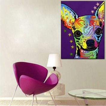 Large size Print Oil Painting Wall painting Chihuahua Home Decorative Wall  Art Picture For Living Room paintng No Frame