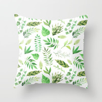 Watercolor Various Green Leaves Greenery Throw Pillow by DazzetteMarie