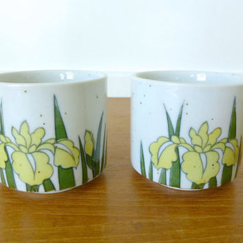 Two Otagiri Japan yellow iris stoneware cups in excellent condition