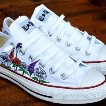 DCCK1IN custom hand painted flowers on low top converse chuck taylor all stars