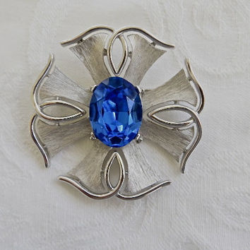 Vintage Crown Trifari Maltese Cross Brooch Pin Cobalt Silver