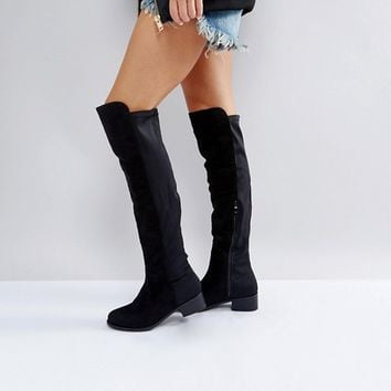 Truffle Collection Elastic Flat Over Knee Boot at asos.com