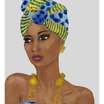 African Woman Blue Yellow Headwrap Giclee Print from Original Artwork Watercolor Portrait Illustration