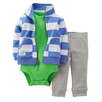 Carter's Rugby Stripe Cardigan Set - Baby Boy, Size: