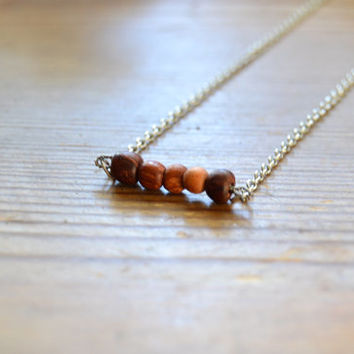 Wood necklace - Shabby chic style - Eco friendly with repurposed beads - 100% reused materials - Handmade and unique - Ready to ship