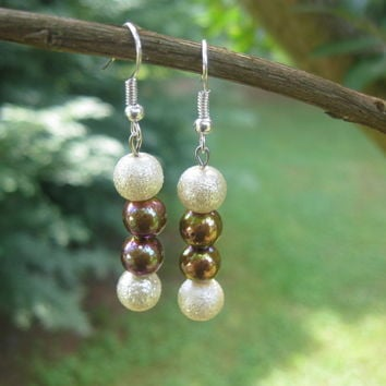 Pearl Stardust and Copper Earrings