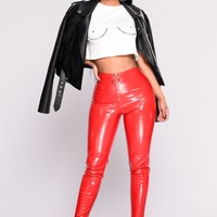 Leslie Skinny Leggings - Red