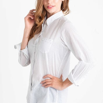 Nili Lotan Dot Print Shirt in White