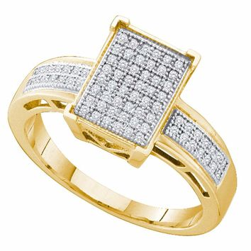 Yellow-tone Sterling Silver Womens Round Diamond Rectangle Cluster Ring 1/5 Cttw
