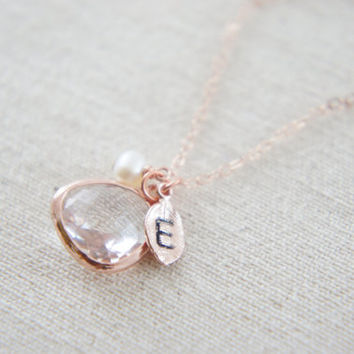 Crystal color glass, pearl and personalized leaf rose gold necklace, wedding, bridesmaid, gift, message card