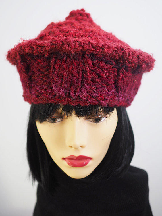 Knitting Pattern Russian Hat : Handmade Ruby Red Russian Style Knit Hat from TheMastHatter on