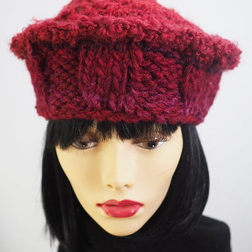 Handmade Ruby Red Russian Style Knit Hat / Hand Crochet / Teen Girl Hat / Women's Hat / Fall Fashion / One of a Kind