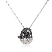 Black And White Cz Baby Bird Pendant