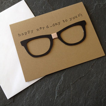 Handmade Happy Birthday Nerd Greeting Card, Unisex but Great for Man, Guy, Friend, Brother, Happy Nerd-Day, Horn Rimmed Glasses, Bandage