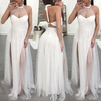 Women Formal Patchwork Halter Backless Chic Charming Sleeveless Long Party Gauze Dress Bandage Perspective Fashion Dress